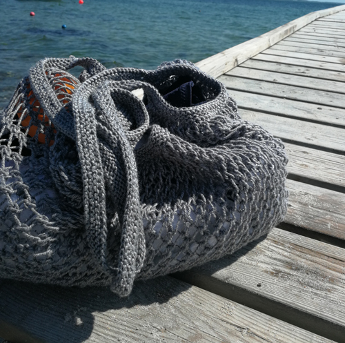 Strikkeopskrift på strandnet eller indkøbsnet